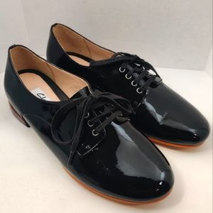 CLARKS Derby Patent Leather Black Lace Up Shoes 6